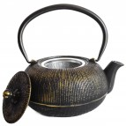 Cast Iron Teapot - Antique Black and Gold